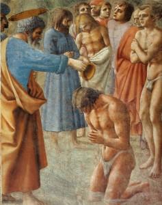 """Masaccio, """"Chrzest neofitów"""""""