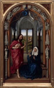 """Rogier van der Weyden, """"Zmartwychwstały ukazujący się swej Matce"""""""