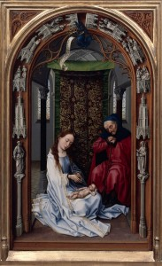 """Rogier van der Weyden, """"Maryja z Dzieciątkiem i św. Józefem"""""""