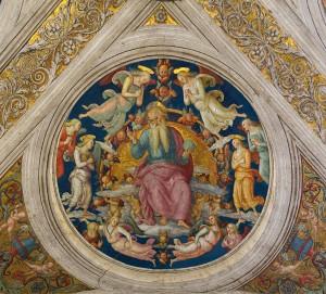 """Pietro Perugino, """"Bóg Ojciec w otoczeniu aniołów"""""""
