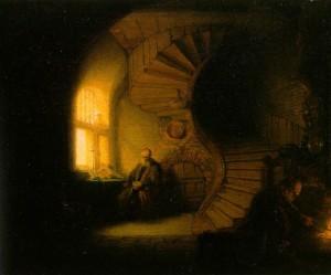 """Rembrandt, """"Filozof pogrążony w medytacji"""""""