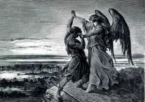 """Gustave Doré, """"Jakub walczący z aniołem"""""""