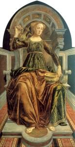 """Piero del Pollaiolo, """"Alegoria umiarkowania"""". Cnota ta często była przedstawiana jako młoda kobieta rozcieńczająca wino wodą."""
